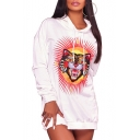 Cute Cartoon Tiger Print Long Sleeve Drawstring Hood Tunic Hoodie