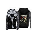 New Fashion Character Print Long Sleeve Color Block Zippered Hooded Coat