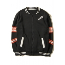 Hip-Hop Style Letter Cartoon Stand-Up Collar Long Sleeve Baseball Jacket for Couple
