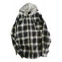 Trendy Checkered Plaids Long Sleeves Button-Down Boyfriend Hooded Loose Shirt with Front Pocket