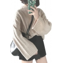 Simple Plain Mock Neck Long Sleeve Loose Pullover Sweater