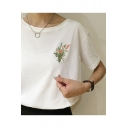 Leisure Floral Embroidery Round Neck Short Sleeves Loose Tee