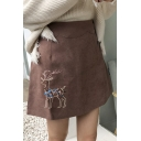 Deer Embroidered High Waist A-Line Mini Skirt
