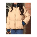 Leisure Contrast Hem Stand-Up Collar Long Sleeve Zip Up Padded Coat
