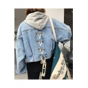 Simple Plain Crisscross Back Lapel Long Sleeve Buttons Down Cropped Denim Jacket