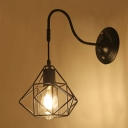 Industrial 8.27''W Wall Sconce with Diamond Shape Metal Cage in Black