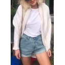 New Stylish Long Sleeve Open Front Simple Plain Tunic Cardigan