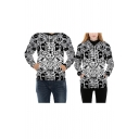 Cool Allover Skull Pirate Pattern Long Sleeves Pullover Hoodie with Pocket