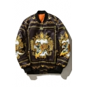 Trendy Tiger Pattern Long Sleeves Baroque Zippered Bomber Jacket