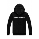 Simple Letter Pattern Long Sleeves Pullover Hoodie with Pocket