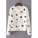 Childish Allover Sweetheart Embroidery Long Sleeves Round Neck Button Down Cardigan