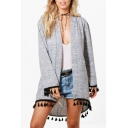 New Trendy Tassel Embellished Long Sleeve Open Front Tunic Cardigan