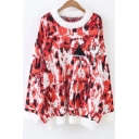 Stylish Color Block Print Long Sleeve Round Neck Pullover Sweater