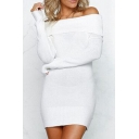 Natural Off Shoulders Wrapped Chest Ribbed Plain Bodycon Mini Dress
