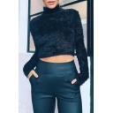 Fashionable High Neck Long Sleeves Cropped Plain Faux Fur Pullover Sweater