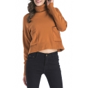 Simple Plain Long Sleeve Turtleneck Pullover Sweater with Pocket