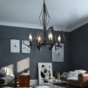 Industrial 4 Light Chandelier with Metal Frame in Black/White Finish