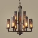 Industrial 8/9 Light Chandelier with Cylinder Metal Mesh in Pipe Style