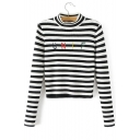 Classic Striped Letter Pattern Long Sleeve Cropped Pullover Sweater