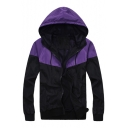 Fashionable Color Block Street Style Long Sleeves Hooded Zip-up Trench Jacket