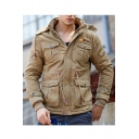 Classic Hood Zippered Long Sleeve Drawstring Waist Padded Coat Parka with Pockets