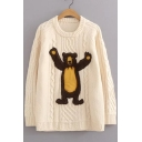 Lovely Bear Pattern Long Sleeve Round Neck Pullover Sweater