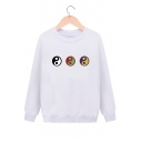 Unique Tai Chi Symbol Pattern Round Neck Long Sleeves Pullover Sweatshirt