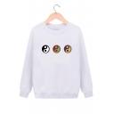 Unique Tai Chi Symbol Pattern Round Neck Long Sleeves Pullover Sweatshirt