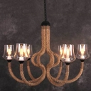 Industrial 37''W Large Chandelier with Clear Glass Shade in Rope Style, 6 Light
