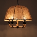 Industrial 5 Light Chandelier with 24''W Fabric Shade in Vintage Style