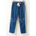 Cute Cat Cartoon Striped Pattern Elastic Waist Wide Leg Fur Trimmed Jeans with Pompoms