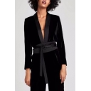 Sexy Plunge Neck Collarless Bow Tie-Waist Long Sleeves Open Front Casual Coat