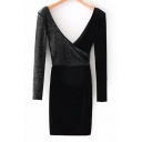 Sexy Plunge Neck V-Back Long Sleeves Velvet Patchwork Wrap Mini Dress