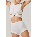 Sportive Plain Twist-Front Cropped Tank Top with Slim-Fit High Waist Hot Pants