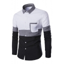 Autumn Collection Color Block Point Collar Button Down Chest Pocket Long Sleeves Slim-Fit Shirt