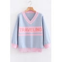 Stylish Color Block V Neck Letter Long Sleeve Pullover Sweater
