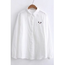 Simple Cat Face Embroidery Point Collar Long Sleeves Button Down Shirt