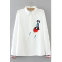 Stylish Lapel Button Embroidery Pattern Long Sleeve Striped Cuffs Shirt