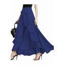 New Fashion Plain Knotted Waist Ruffle Hem Wide Leg Pants