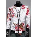 Chic Floral Print Stand-Up Collar Long Sleeve Slim-Fit Zipper Jacket