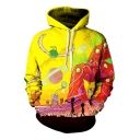 Funny Cartoon Colorful Magic World Pattern Long Sleeves Pullover Hoodie with Pocket