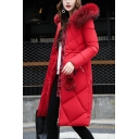 Simple Faux Fur Hooded Long Sleeve Zip Up Longline Quilted Coat