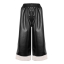 Simple Contrast Trimmed Elastic Waist Wide Legs Cropped Leather Pants