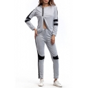 Fashionable Color Block Split Front Hoodie Sport Co-ords