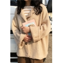 Chic Simple Leisure Round Neck Long Sleeve Buttons Down Cardigan