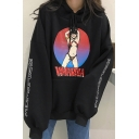 Letter Cartoon Print Long Sleeve Loose Hoodie