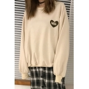 Letter Print Long Sleeve Round Neck Pullover Sweatshirt