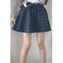 Vintage Plaid Bow Elastic Waist A-Line Mini Skirt