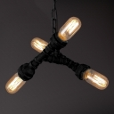 Industrial LOFT Chandelier in Open Bulb Style Creative Pipe Fixture Arm for Bar/Diner