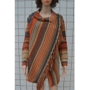 Stylish Striped Pattern Long Sleeves Cowl Neck High Low Hem Wrapped Cardigan with Tassels